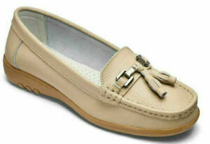 Womens Flat Shoes Size 8 Wide Fit Leather Beige Nude Loafers Low Wedge Heel NEW