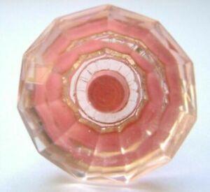 pink medium cut glass drawer & cupboard pulls door knobs X 10