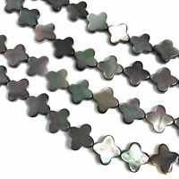 "15.5"" - Natural Black MOP Shell Clover Beads 10mm, NEW DIY Design Wholesale"