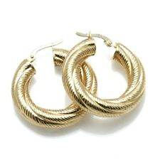 Vintage 14k yellow gold twisted hoop earrings thick Made in Italy Estate