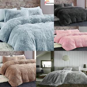 Long Fur Pile Cuddles Hug & Snug Teddy Bear Fleece Duvet Cover Warm Bedding Set