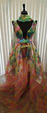 Ethereal Rainbow Garden Nymph Floral Lehenga Saree Sari Bridal Wedding Ballgown