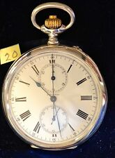 LONGINES CHRONOGRAPH POCKET WATCH 52mm ROMAN NUMERALS AND BLACK SPADE HANDS.