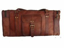"""Men's Brown Genuine Goat Leather 24"""" Travel Luggage Duffle Gym Overnight Bag New"""