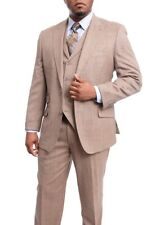 Apollo King Classic Fit Textured Tan Two Button Closure Peak Lapel Wool Suit
