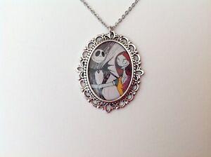 Jack Skellington Sally silver necklace The Nightmare Before Christmas Tim Burton
