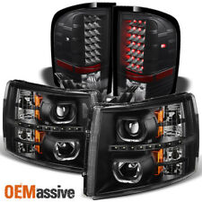 Fit 07-13 Silverado LED Halo Black Projector Headlights+LED Tail Lights
