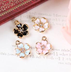 Flower Charm, Enamel Cherry Blossom Pendant, Rhinestone flower, Jewellery PK 4