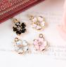 Flower Charm, Enamel Cherry Blossom Pendant, Rhinestone flower, Jewellery making