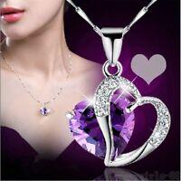 Mode Frauen Herz Kristall Strass Silber Kette Anhänger Halskette Schmuck   G3D