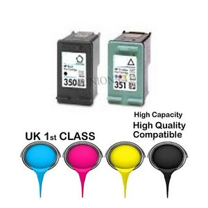 REMANUFACTURED HP 350 Black & 351 Colour Ink Cartridges for hp printer