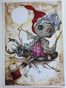 ORIGINAL ARTWORK PRINT BEETLE DRIVE WOODEN DOLL SEWING BUTTON A4 PRINT SIGNED