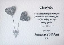10 Handmade Personalised Wedding Thank You Cards - Envelopes Included!