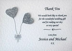 10 Handmade Personalised Wedding Thank You Cards With Envelopes & Free P+P