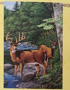 """White Tail Deer Garden Flag - 29"""" X 43"""" New Wildlife Decor - Great Gift!"""