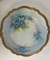 Antique O&E.G. Royal Austria Handpainted Gold Trim Plate Blue Forget-Me-Nots