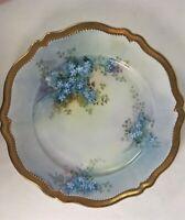 Antique O&E.G. Royal Austria Handpainted Gold Trim Plate Blue Forget-Me-Nots