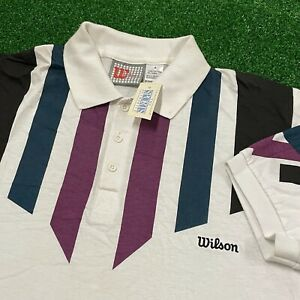 Wilson Collared Shirt Mens Small White Striped Tennis Polo Vintage 90s New Tags