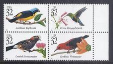 1998 US Tropical Bird Block of 4 - SC 3222-3225 MNH - Correct Order*