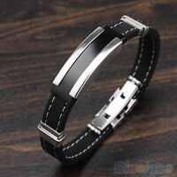 Fashion Mens Black Silver Stainless Steel Rubber Bracelet Bangle B84U New Well