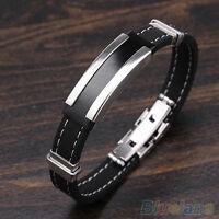 JN_ Fashion Mens Black Silver Stainless Steel Rubber Bracelet Bangle B84U New