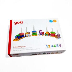 Goki 106 - Geburtstagszug, Lok mit 7 Anhängern - Holzspielzeug – B-Ware