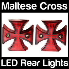 2 x LED Chrome Maltese Cross Rear Tail Brake Light Motorcycle Chopper ONE PAIR