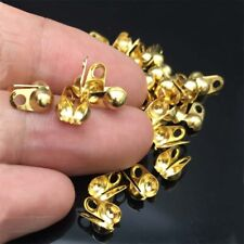 50pcs/lot Gold Tone Stainless Steel Calottes End Crimps Beads Tips 8x4mm
