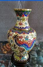 200 mm Collecting Chinese cloisonne carved copper dragons and phoenixes vase