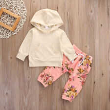 6-12M Baby Girls Long Sleeve T-shirt Top+Pants Outfits 2PCS Hooded Clothes Set