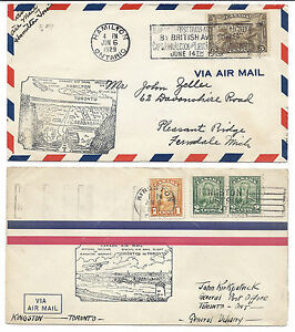 Canada FFC Lot of 2 1929 Opening of Hamilton & Kingston Airport - 161 Coil Pair
