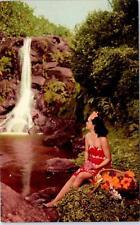 Hawaii Island Girl Sits by Waterfall c1940s Union Oil Postcard