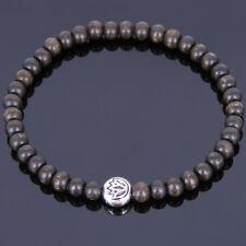 Uomo Bracciale Mala YOGA Agarwood argento tibetano LOTO Perlina BUDDISMO 008M