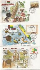 Africa- 3 covers w/ enclosed coins ( 1990) (Mali-1,Cape Verde-1, Madagascar-1)