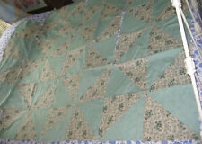 """40 """"Half Square Triangle"""" QUILT BLOCKS in Farmhouse Green Solid + Floral Print"""