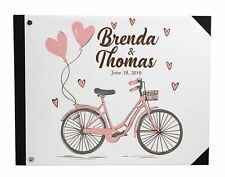 Darling Souvenir White Bicycle & Heart Wedding Guest Book Hardbound-sbt