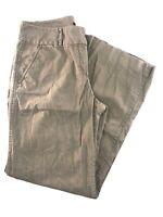 J. CREW City Fit Full Leg Linen/Cotton Blend Green Women's Pants Size 10