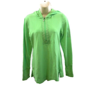 Danskin Now Hoodie Sz Medium 1/4 Zip Fitted Pullover Green Thumb Hole MP3 Pocket