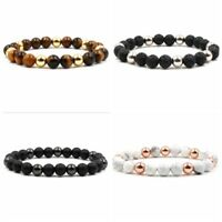 Men's Natural Lava Rock Gemstone Beads Bracelets Lava Tiger Eye Beaded Bracelets