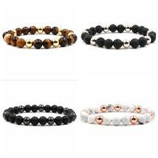 8mm Men's Natural Lava Rock Gemstone Beads Lava Tiger Eye Beaded Chic Bracelets