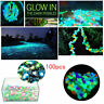 100 Pcs Glow In The Dark Stones Pebbles Rock Fish Tank Aquarium Garden Walkway