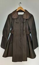 Zac Posen Womens Size 8 BNWT Coffee Brown Flared Pleated Belted Pocket Jacket