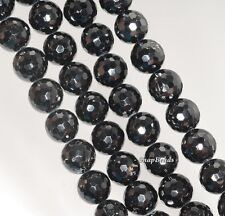 """12MM BLACK TOURMALINE GEMSTONE GRADE A FACETED ROUND LOOSE BEADS 7.5"""""""