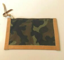 """COSMETIC BAG CAMO w/ blond leather edging, zip closure 9"""" x 5.5"""""""