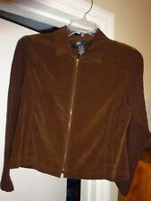 First Option Petite Jacket Size PM Brown Zip Front Poly Spandex W/Knit Sleeves