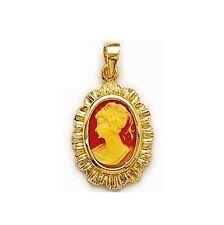 COLGANTE bonito Camafeo rojo chapado en oro nuevo