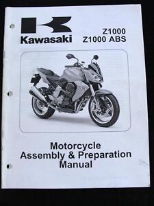 2007 KAWASAKI Z1000 ABS MOTORCYCLE STREET BIKE ASSEMBLY PREPARATION MANUAL