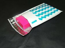 30 Blue Chevron 4x8 Bubble Mailers, Padded Shipping Postal Mailing Envelopes