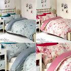 Double Blue Floral & Gingham Check Reversible Duvet Quilt Cover Bedding Set