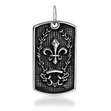 Fleur de lis Dog Tag Pendant Made in Stainless steel.